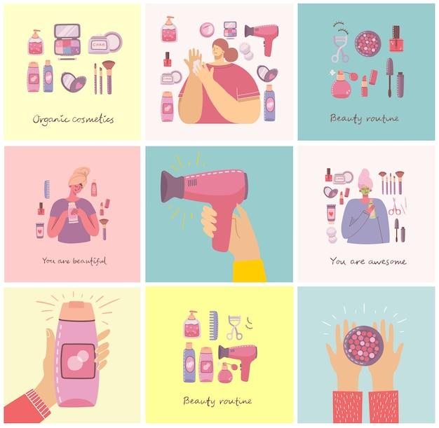 女の子の近くでメイクアップするための化粧品やボディケア製品のイラストのコラージュ。フラットスタイルのモダンなイラスト。