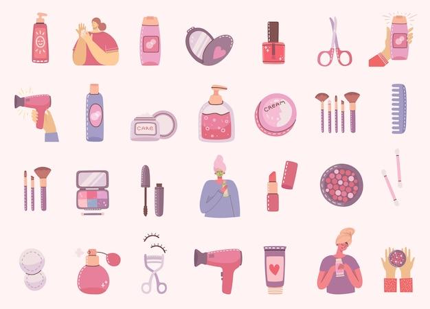 女の子の近くでメイクアップするための化粧品やボディケア製品のイラストのコラージュ。モダンなフラットスタイルのモダンなイラスト。