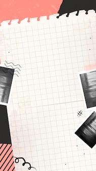写真のコラージュと破れた紙の電話画面の背景