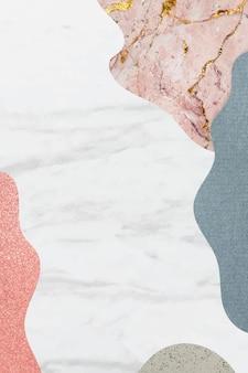 白い大理石の背景のコラージュパターンフレーム