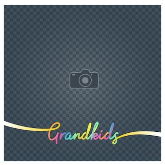 Collage of photo frame and sign grandkids  illustration background