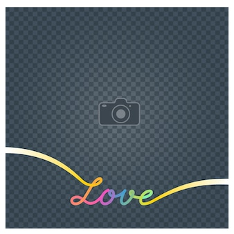 Collage of photo frame and sign love vector illustration, background. design element with blank photo frame