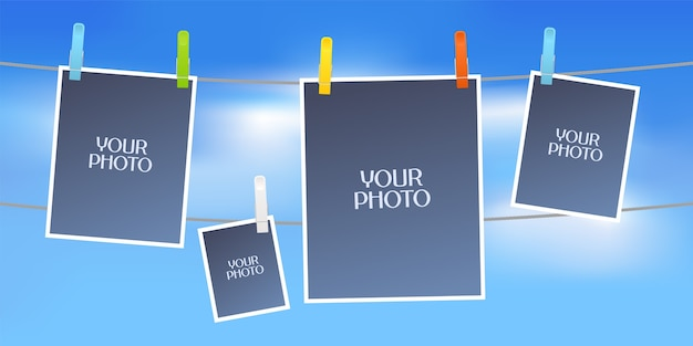 Collage of photo frames vector illustration. design element of sky and five empty frames for scrapbook or photo album