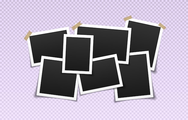 Collage of realistic frames border of black photo frames on light background pile of photo