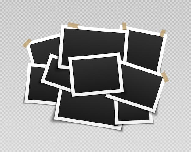 Collage of realistic frames border of black photo frames on light background
