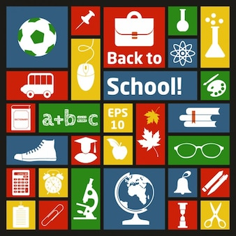 Collage of school materials Free Vector