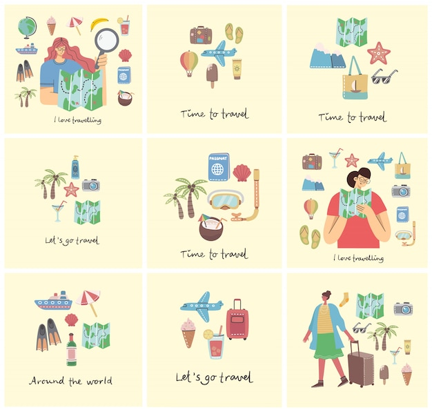 旅行関連の飛行機、アイスクリーム、荷物、カクテルのコラージュセットは、旅行の手書きのテキストを行きます。旅行カード、ポスター、バナーフラットスタイルのイラスト。