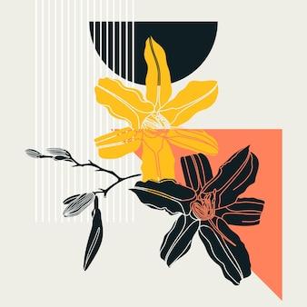 コラージュ風のユリのデザイン。花と幾何学的な要素を持つトレンディな抽象的なイラスト