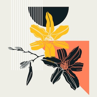 Collage style lily design. trendy abstract illustration with floral and geometric elements