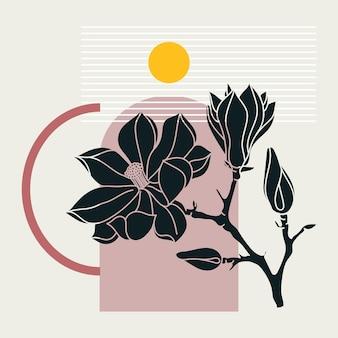 コラージュ スタイルのマグノリア デザイン。花と幾何学的な要素を持つトレンディな抽象的なイラスト