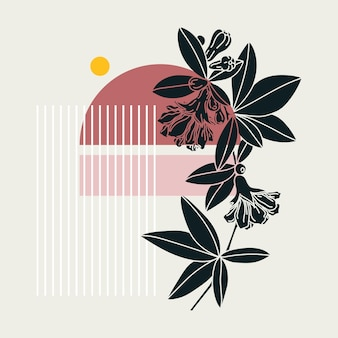 Collage style pomegranate design. trendy abstract illustration with floral and geometric elements