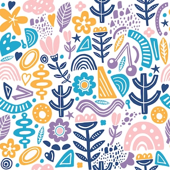 Collage style seamless repeat pattern with abstract and organic shapes in pastel color. modern and original textile, wrapping paper, wall art  .