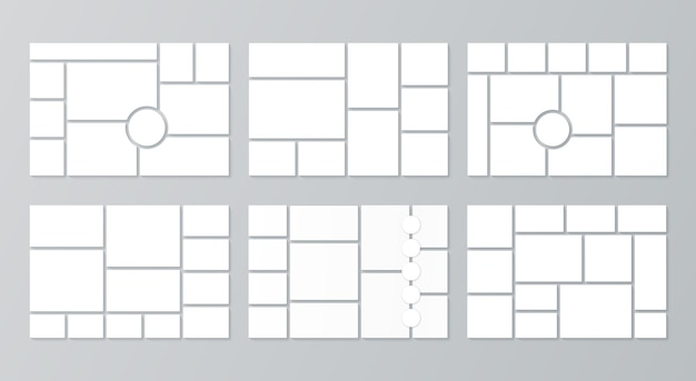 Collage template. moodboard layout. vector. set of mosaic photo frames. mood board background. pictures grid. photomontage gallery. horizontal mockup of banner. photography album. simple illustration.