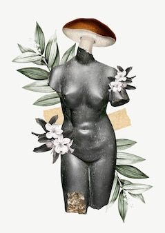 Collage vintage feminine illustration vector, antique mixed media art