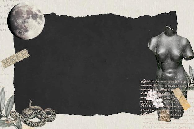 Carta da parati collage sfondo scuro, arte collage digitale vettoriale