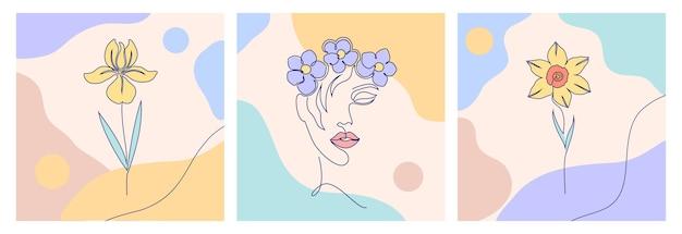 여자 얼굴과 꽃과 콜라주. 한 선 그리기 스타일. 프리미엄 벡터