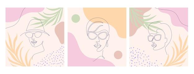 Коллаж с лицами женщин и листьями. стиль рисования одной линии.