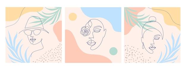 女性の顔とのコラージュ。 1本の線画スタイル。