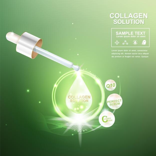 녹색 배경에 콜라겐 드롭입니다.