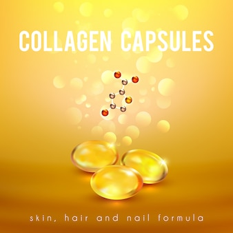 Collagen formula capsules golden background