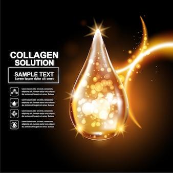 스킨 케어 제품에 대한 콜라겐 또는 골드 세럼 오일 드롭 배경.