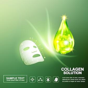 콜라겐 또는 세럼 녹색 배경 개념 스킨 케어 화장품.