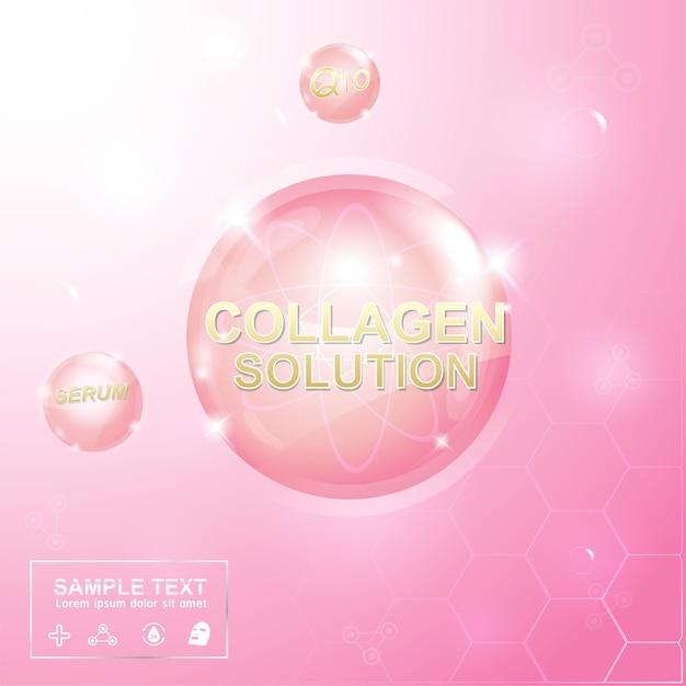 콜라겐 또는 세럼 핑크 배경 개념 스킨 케어 화장품.
