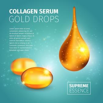 Шаблон оформления рекламной коллагеновой сыворотки с золотыми масляными капсулами и глянцевой каплей с подсветкой