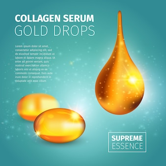 Collagen serum advertising design template with golden oil capsules and illuminated glossy drop