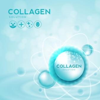 Растворы для кожи с коллагеновой сывороткой и витамином гиалуроновой кислоты на фоне косметической рекламы