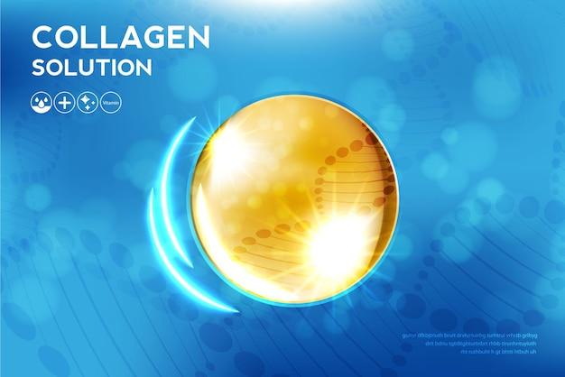 화장품 광고 배경이 있는 콜라겐 세럼 및 비타민 히알루론산 스킨 솔루션