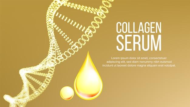 Коллагеновая сыворотка молекула и капли баннер