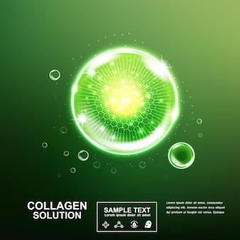 스킨 케어 제품에 대한 녹색 배경에 콜라겐 세럼 또는 비타민 볼과 거품.