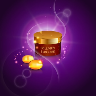 Provetta di collagene con confezione realistica di crema