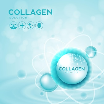 Collagen serum and vitamin hyaluronic acid skin solutions with cosmetic advertising background