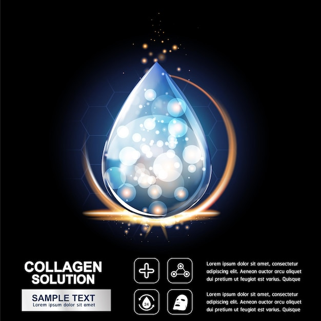 Collagen serum and vitamin for skin care products concept.