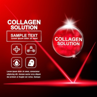 Collagen serum and vitamin for skin care.