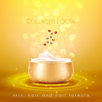 Collagen skin cream golden background poster