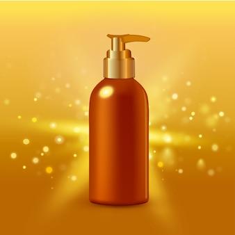 コラーゲンソリューション集中クリームチューブゴールド背景広告ポスターの医薬品や化粧品の製品のリアルなイラスト