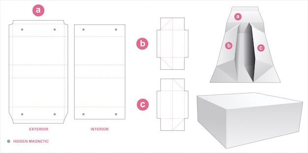 접을 수있는 포장 상자 다이 컷 템플릿