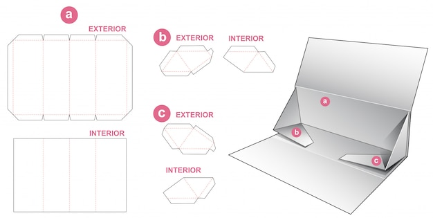 Collapsible rigid triangular box die cut template