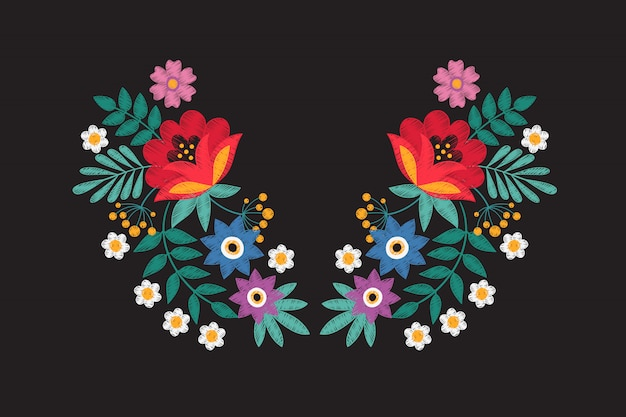 Collar embroidery floral design with wildflowers. stitching detail tribal necklace with flowers isolated vector