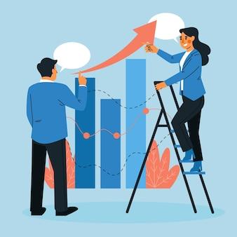 Colleghi che analizzano i grafici di crescita