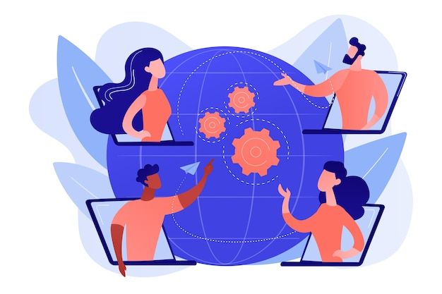 Colleagues business meeting, company internet webcast. online meetup, join meetup group, meetup website service, best communication here concept. pinkish coral bluevector isolated illustration