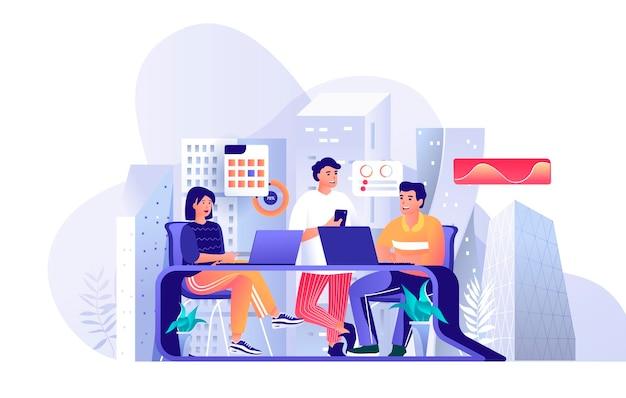 평면 디자인 컨셉에 사람들이 문자의 동료 비즈니스 회의 장면 그림