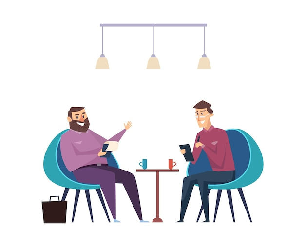 Colleagues on coffee break. businessmen drink hot beverages and talk about work vector concept. office business, coffee break with colleague illustration