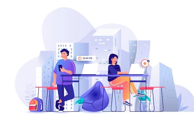 평면 디자인 컨셉에 사람들이 문자의 사무실 장면 그림을 coworking 동료