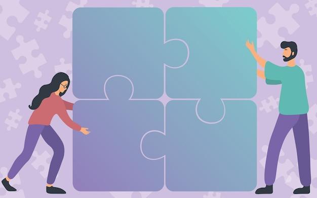 チームワークのチームメイトを示すジグソーパズルの4つのピースを合わせて描く同僚