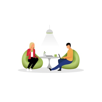 Colleagues have rest flat  illustration. coworkers, employees at lounge zone. office workers, managers drinking tea cartoon isolated characters. programmers, designers working