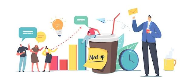 동료 모임 개념입니다. 사업가 캐릭터 회사 직원 커피 브레이크, 의사 소통, 채팅, 여가 시간을 함께 보내는 사람들은 업무 문제에 대해 논의합니다. 만화 벡터 일러스트 레이 션